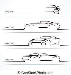 silhouettes., conjunto, moderno, coche