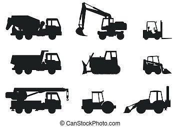 silhouettes., construcción, máquinas