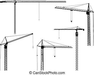 silhouettes, construction, crane.