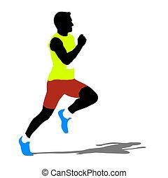 silhouettes., correndo, vettore, illustration.