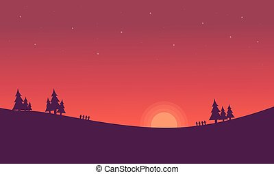 silhouettes, coucher soleil, colline, paysage