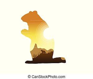 silhouettes, coucher soleil, marmotte, paysage