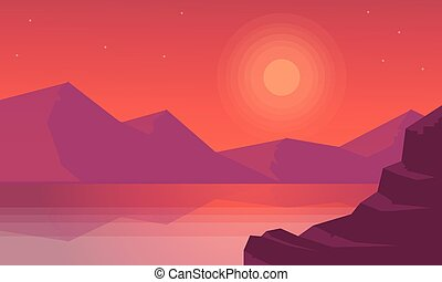 silhouettes, coucher soleil, paysage, moountain