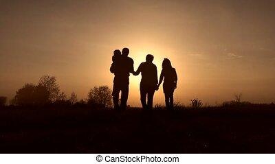 silhouettes, coucher soleil, pré, famille, spirng