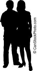 silhouettes, couple, blanc, romantique, fond