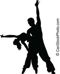 silhouettes, couples, danse