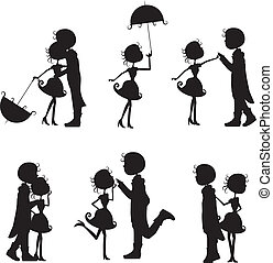 silhouettes couples with different poses on white background