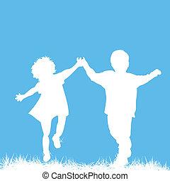 silhouettes, courant, enfants