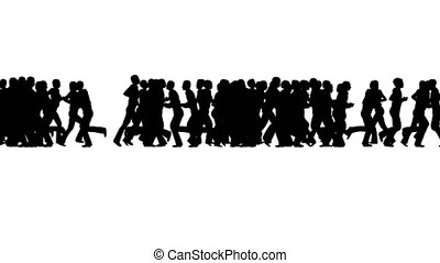 Silhouettes Crowd running on white