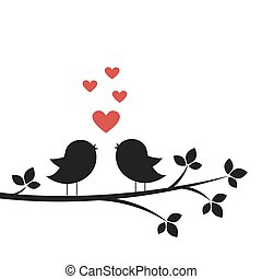 Silhouettes cute birds sing in Love