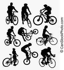silhouettes, cyclisme