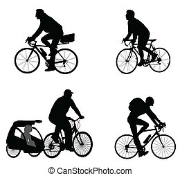silhouettes, cyclistes