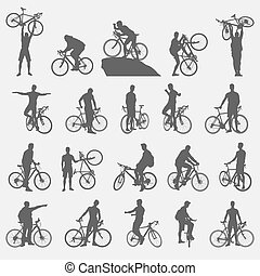silhouettes, cyclistes, ensemble