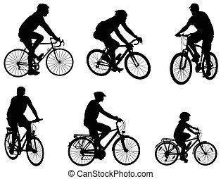 silhouettes, cyklister, sätta