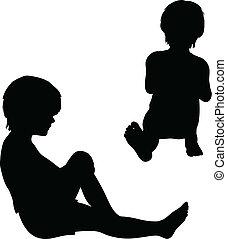 silhouettes, děti, osamocený, white.