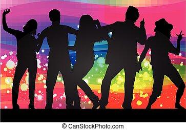 silhouettes., dançar, pessoas