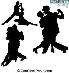 Silhouettes Dance 02 - High detailed black and white...