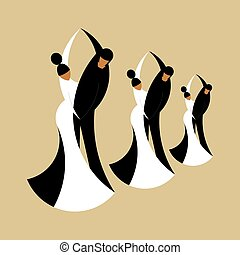 Silhouettes dancing couples isolated on a beige