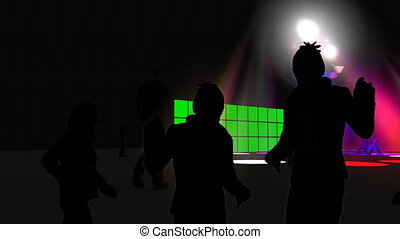 Silhouettes dancing in a night club with green screens in the background