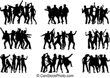 silhouettes, dancing