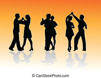 silhouettes, dans, kopplar