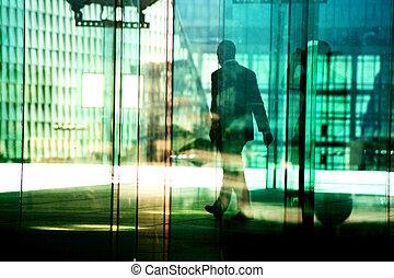 silhouettes, dans, les, zone affaires
