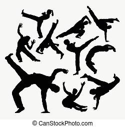 silhouettes, dans, sportende, capoeira