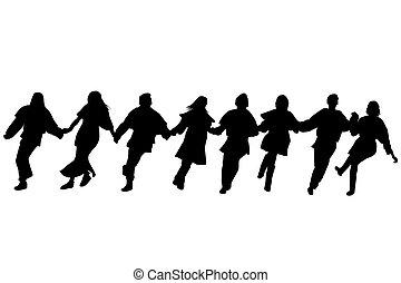 silhouettes, dansare, balkan