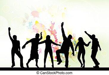 silhouettes, danse, gens arrière-plan