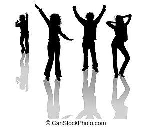 silhouettes, danse, gens