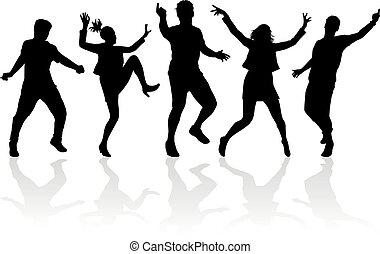 silhouettes., danse, gens