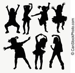 silhouettes, danse, gosse