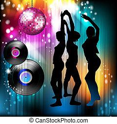 silhouettes, danser disco, lumière