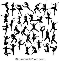 silhouettes, danseur, heureux
