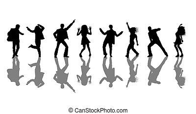 silhouettes, danseurs, disco