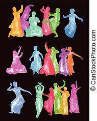 silhouettes, danseurs, indien