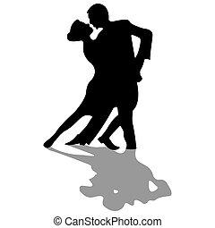 silhouettes, danseurs, isolé, blanc