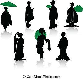 silhouettes, danseurs, japonaise