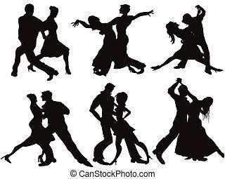 silhouettes, danseurs, salle bal