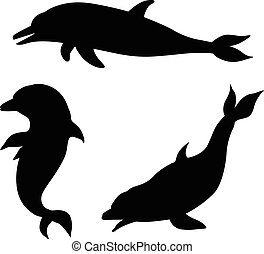 silhouettes, dauphin, ensemble