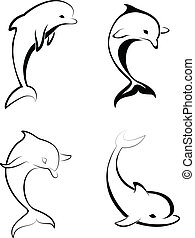 silhouettes, dauphins