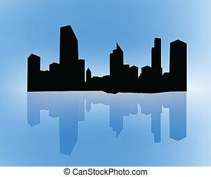 silhouettes, de, bâtiments