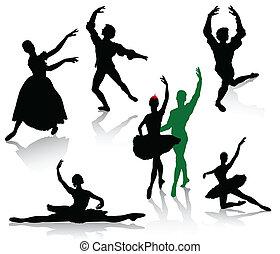 silhouettes, de, ballerines, et, danse