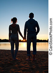 silhouettes, de, couple