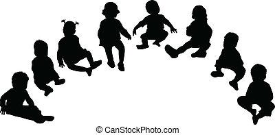 silhouettes, de, enfants