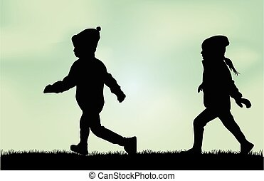 silhouettes, de, enfants, running.