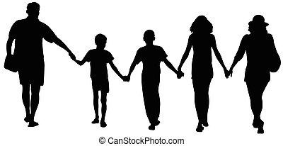 silhouettes, de, famille heureuse, marche