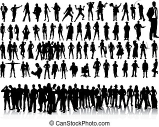silhouettes, de, gens