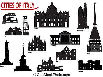 silhouettes, de, italien, villes