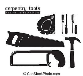 silhouettes, de, outils